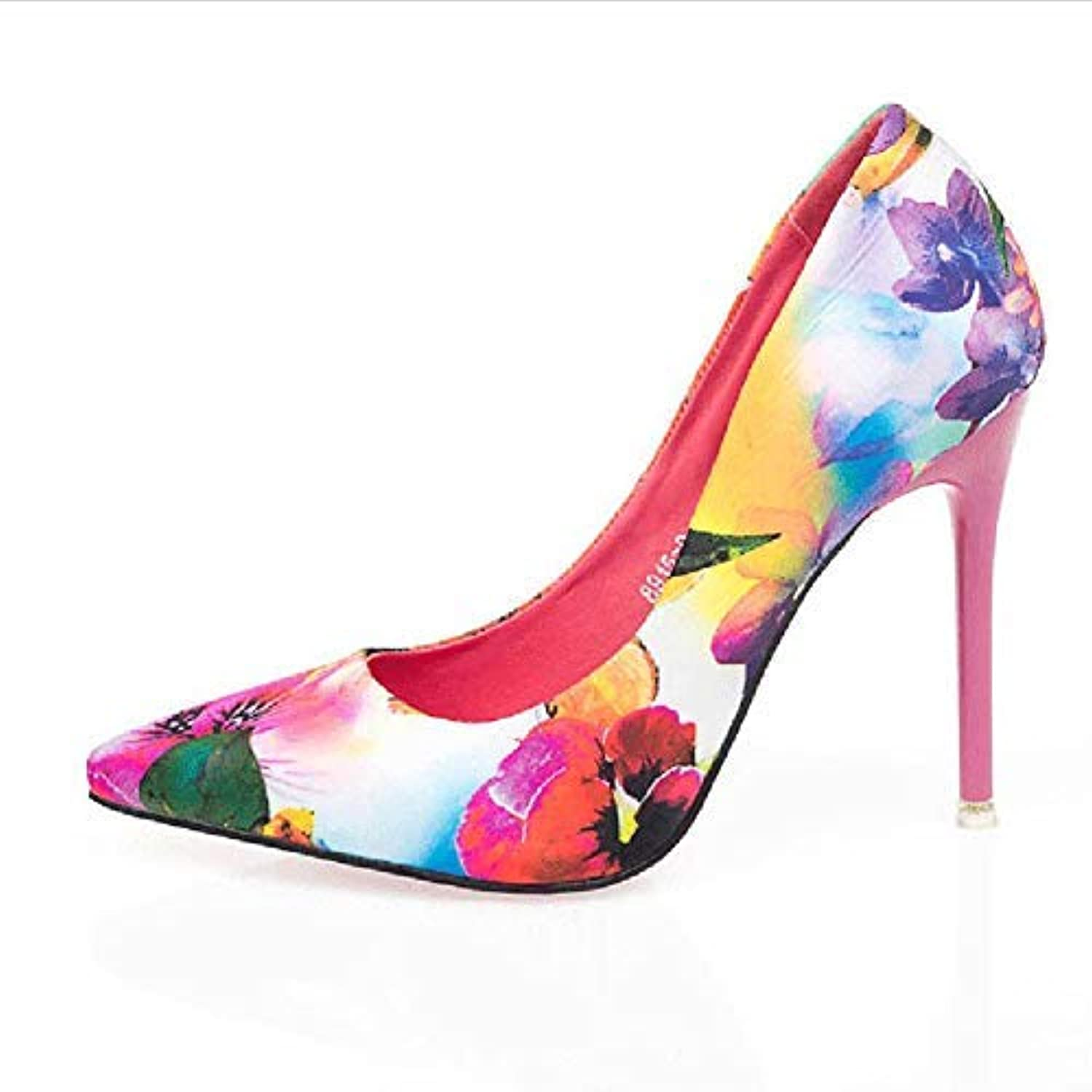 shoes Court shoes Women's shoes Block Heel High Heel Fine Heel Floral Pointed High-Heeled shoes OL Women's shoes Haiming (color   Pink, Size   34)