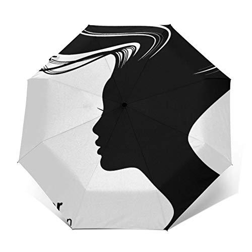 Regenschirm Taschenschirm Kompakter Falt-Regenschirm, Winddichter, Auf-Zu-Automatik, Verstärktes Dach, Ergonomischer Griff, Schirm-Tasche, Frauenhaar
