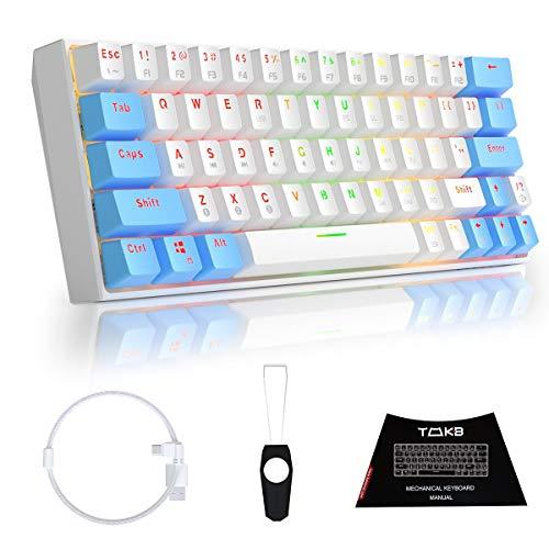 TMKB ゲーミングキーボード 63キー Bluetooth 4.0 ワイヤレス/有線 1600万色 RGBバックライト 10m内接続可能 ABS材質 耐久 1900 mAh バッテリー 内蔵 12つRGBモード Windows/Mac OS サポート 60%メカニカルキーボード 人間工学設計 仕事PC用 自宅ゲーム用 OUTEMU 青軸 (ホワイト)