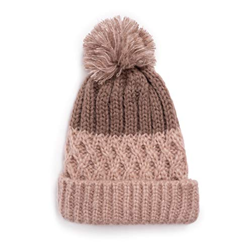 MUK LUKS Women's Pom Cuff Cap, Fairy Dust, OSFM