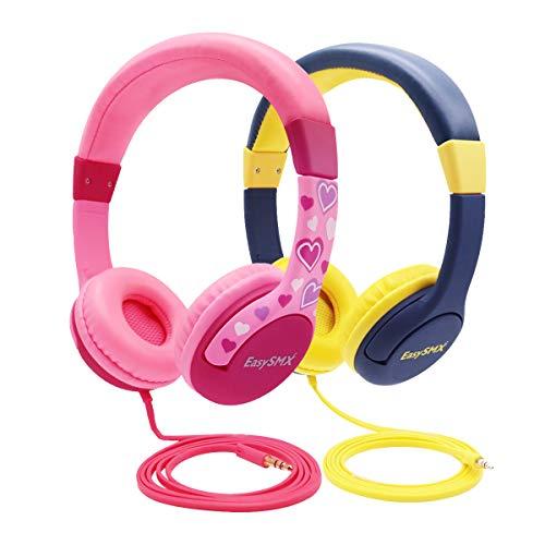 EasySMX 2-Pack-Kinderkopfhörer, verdrahtete Ohrenschützer für Kinderkopfhörer, 85db-Lautstärkebegrenzer, kinderfreundliches ABS, kein Wickeldraht, 3,5 mm-Hilfssteckdose für Kinder