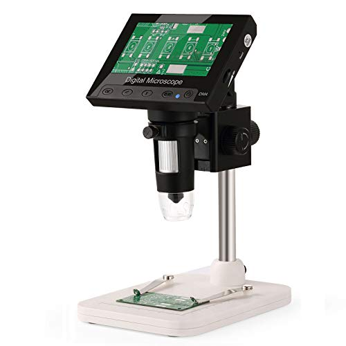 Hayve 4.3 Inch LCD Digital Microscope,HD 720P Handheld Camera Video Recorder with Metal Stand,8 Adjustable LED Lights for Circuit Board Repair Soldering PCB,Compatible with Windows