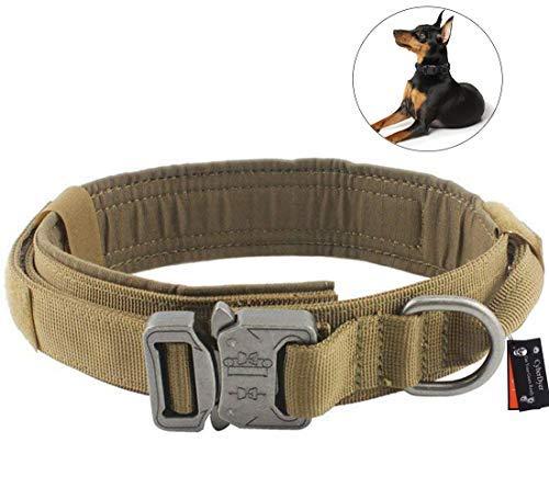 CyberDyer Collar de Perro táctico Ajustable Militar irrompible Collar de Entrenamiento con Anilla en D asa de Control y Hebilla de liberación rápida
