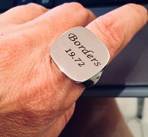 Personalized Silver Signet Black Engraving Ring Handmade Designer Jewelry