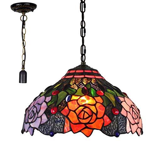 GDLight 12 Pulgadas de la lámpara del Estilo de Tiffany Rose a Mano Colgante Pastoral Floral del vitral de Las Luces Colgantes con Cadena Ajustable para Colgar Hierro para Comedor Pasillo Dormitorio