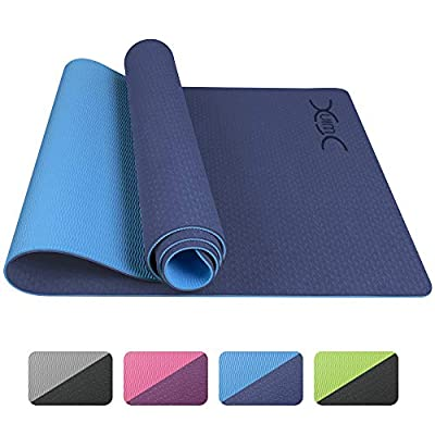"""YXwin Yoga Mat, Classic 1/4 Inch Thick, Non Slip Pro Yoga Mat, Eco Friendly Exercise & Fitness Mat with Carrying Strap - for All Types of Yoga, Pilates & Floor Workouts (72"""" x 26"""" x1/4"""")"""