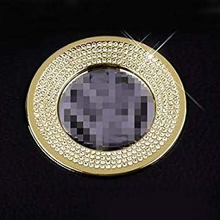 Uniqus Car Aluminum Steering Wheel Decoration Ring with Diamonds for Volkswagen(Gold)