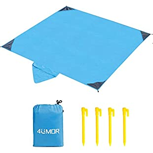 4UMOR Beach Blanket, Portable Lightweight Waterproof Sandproof Pocket Picnic Blanket - 140cm x 200cm Large Picnic Mat and for Outdoor Travel Camping Hiking Activities (Blue)