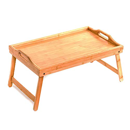 Bed Tray Table w/Folding Legs - 50 x 30 x 22cm, Bamboo Wood Breakfast Lap Tray Table | Portable Furniture