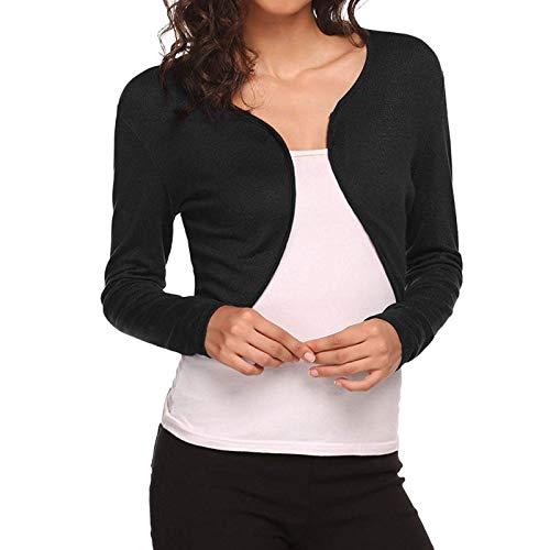 Prendas de Abrigo para Mujer Cruz Regular Moda Color sólido Manga Larga Dobladillo Irregular Botón Corto Cárdigan Informal Top L