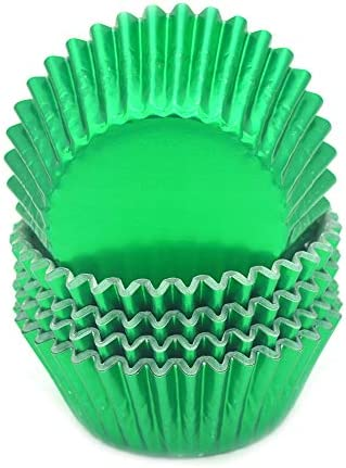 Mombake Standard Green Foil Cupcake Liners Muffin Baking Cups for Party and More 100 Count product image