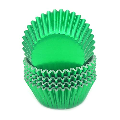 Mombake Standard Green Foil Cupcake Liners Muffin Baking Cups for Party and More, 100-Count