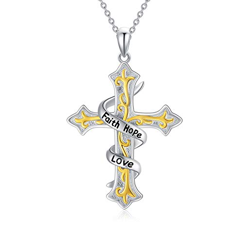 LONAGO Cross Necklace for Women 925 Sterling Silver Faith Hope Love Religious Cross Pendant Necklace Jewelry