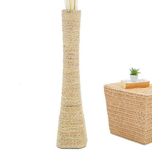 Leewadee Grande Vaso da Terra: stiloso Vaso da Pavimento, Elemento Fatto a Mano in Legno Esotico e Rafia, Alto Vaso per Rami Decorativi, 90 cm, Écru