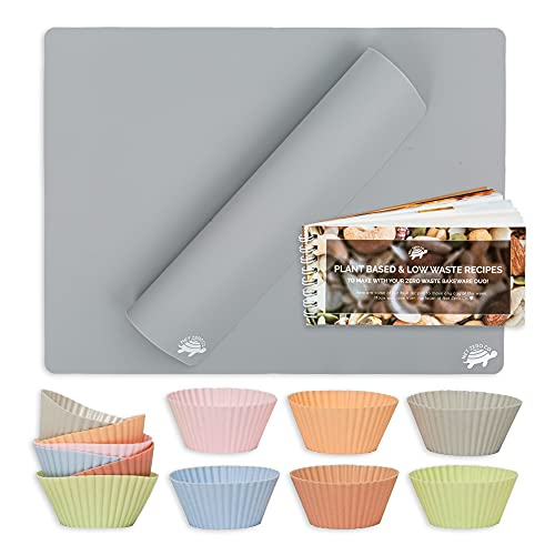 Silicone Bakeware Starter Duo, Bakeware Set of 2 Reusable Food-Grade Gray Baking Mat, 12 Colorful Silicone Muffin Cups, and Mini Vegan Cookbook, Baker's Bundle - Net Zero Co.