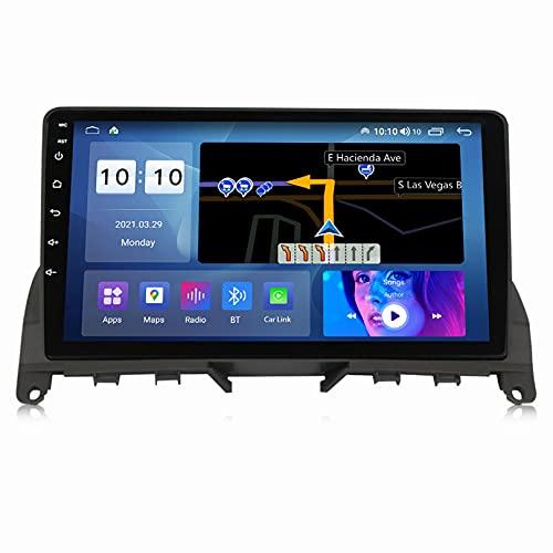 ADMLZQQ Compatible para Mercedes-Benz C-Class 3 W204 2006-2011 Android 11.0 Sat Nav FM Radio Receptor Doble DIN Auto Audio Player Coche EstéReo GPS Navegació Bluetooth/FM SWC/Carplay,M600S8core6+128