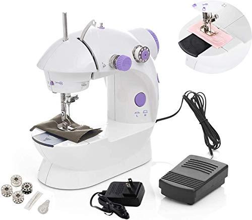 Estilo-fiable Máquina de coser, mini máquina de coser, de múltiples funciones portable de mano Máquina de coser eléctrica, ajustable Con 2 velocidades de doble filo Con el pedal del pie, adecuado for