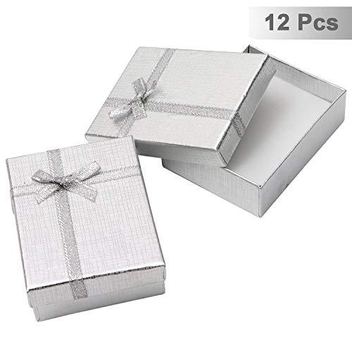 12 Teiliges Schmuck Geschenkbox Set - Schmuck Etui 8,5 x 6,5 x 2,5cm mit Samteinlage fur Kette, Ohrring, Ring - Prasentations-Schachteln für Hochzeit, Verlobung - Schleife und Band Design
