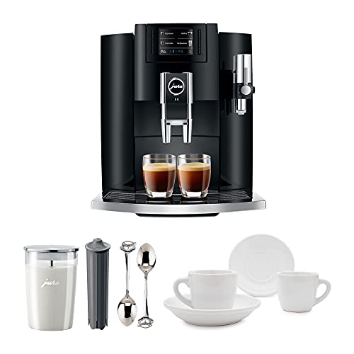 Jura 15270 Automatic Coffee Machine E8, Black Includes Jura Milk Container, Jura Filter Cartridge and Two Espresso Cups and Sauceres
