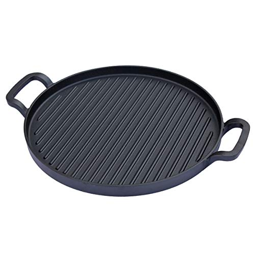 TAINO Grillpfanne 31cm Gusseisen Platinum/Black Zubehör Grillplatte Gusspfanne universal