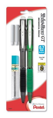 Pentel Twist-Erase GT (0.7mm) Mechanical Pencil, Lead, 2 Erasers, Assorted Barrel Colors, Color May Vary, Pack of 2 (QE207LEBP2M)