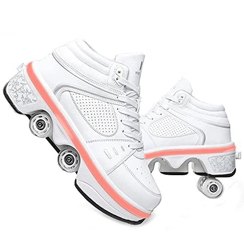 GKZJ Botas De Patines De Cuatro Ruedas Ajustables Zapatos Multiusos 2 En 1 Zapatos para Caminar con Luces LED,EUR34