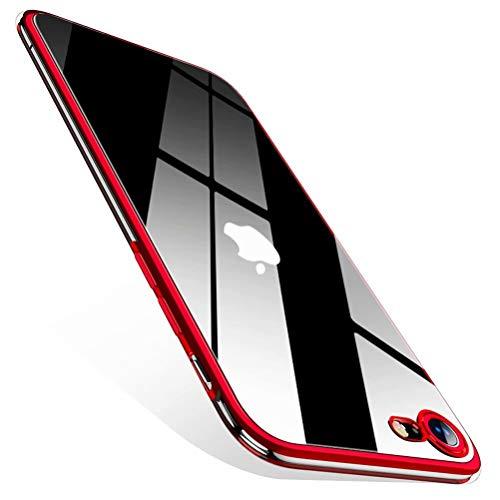 CAFELE Ultra Dünn Hülle für iPhone SE 2020 Silikon [Aktualisierte Version] - Transparent Cover und Farbigem Kante- Weiche Cover Flexibel Handyhülle für iPhone SE 2/iPhone 8/7 -Rot