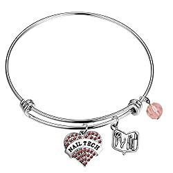 Nail Tech Bracelet Pink Pave Heart Charm Nail Technician Gifts for Manicurist Coworkers