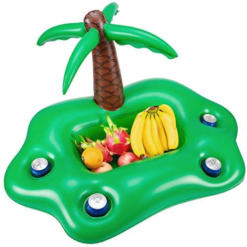 Pineapplen Summer Piscina Inflable Soporte para Vasos Fiesta Barra De Hielo Piscina Flotador Cerveza Enfriador De Bebidas PVC Bandeja Flotante Accesorios para Piscina De Playa - Verde