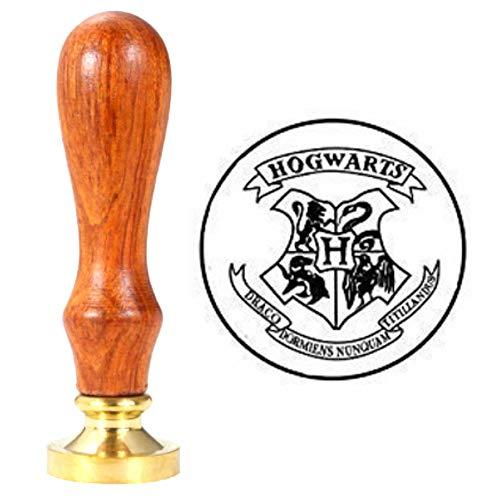 Wachssiegelstempel, ANBOSE Hogwarts Magic School Wachs Siegelstempel mit Holzgriff Kupfer Siegel Vintage Retro Siegelwachs Stempel für Briefkarten Einladungen