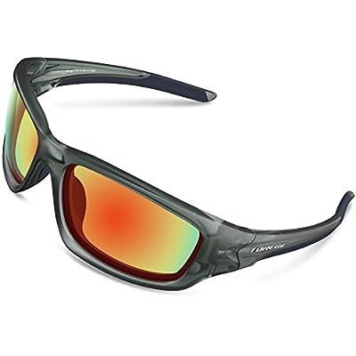 TOREGE Polarized Sports Sunglasses for Men Women Cycling Running Driving Fishing Golf Baseball Glasses EMS-TR90 Unbreakable Frame TR007 (Sliver&Black&Gray Lens)