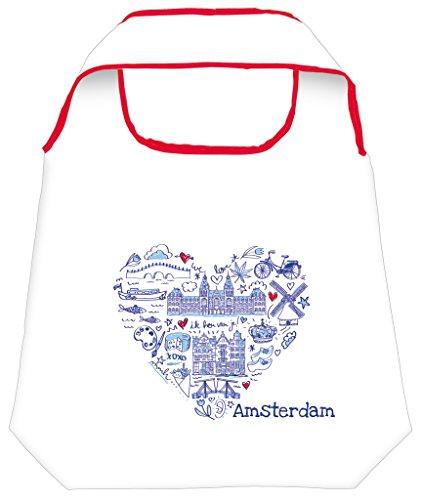Moses Shopper Amsterdam | Opvouwbare boodschappentas | milieuvriendelijk, herbruikbaar, stof, meerkleurig, 70 x 50 x 0,5 cm