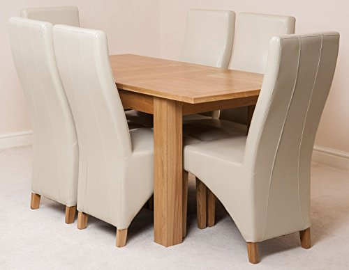 Hampton 120cm - 160cm Oak Extendable Dining Table and 6 Chairs Dining Set with Lola Ivory Leather Chairs
