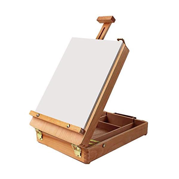 Kurtzy Caballete - 27 x 36cm Caballete maletín de Mesa - Madera Caballete de Escritorio - Caja de Madera con Compartimentos para Pintar, Bocetos y Arte (artista caballete que se Abre y se Cierra)