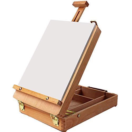 Caballete - Set de artista caballete para todos los usos - Madera Caballete de Escritorio de - Caja de Madera con Compartimentos Ideal para Pintar, Bocetos y Arte (Caballete que se Abre y se Cierra)
