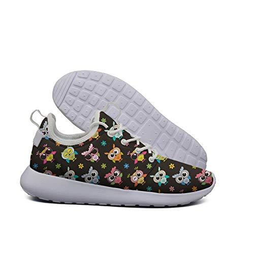LOKIJM Big Eyes owl Art Decor White Walking Shoes for Women Athletic Non-Slip Best Running Shoes