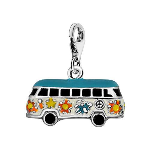 Quiges Charm Anhänger Multi Colour Emaille Hippie Auto Bus 925 Silber mit Karabinerverschluss für Bettelarmband