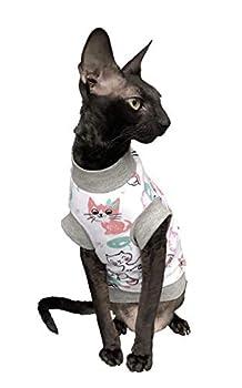 Kotomoda Sphynx Cat Wear T-Shirt en Coton Stretch pour Chat (L)