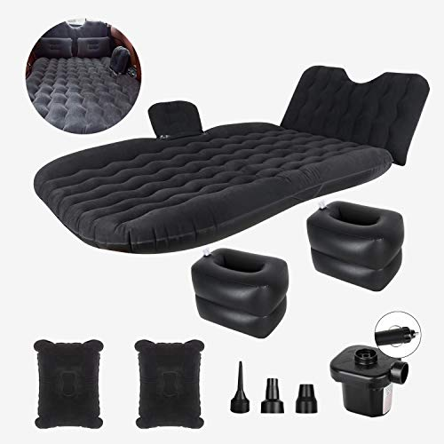 AAIWA Car Air Bed, Inflatable Car Mattress Travel Bed with Backrest Pump Kit for Camping, Portable Back Seat Sleeping Pad with 2 Pillows for Car SUV Truck
