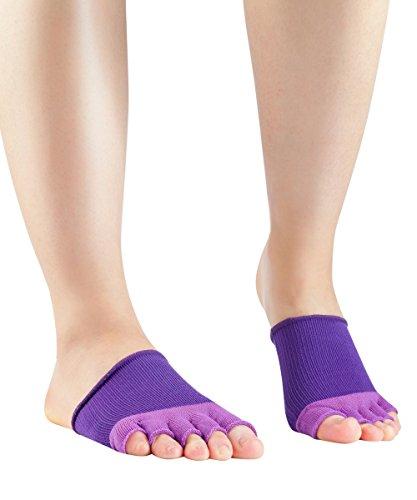 Knitido Dr. Foot Hallux-Valgus-Zehlinge, Füßlinge zur Unterstützung bei Ballenzeh, offene Zehen, Farbe:violett (011), Größe:35-40