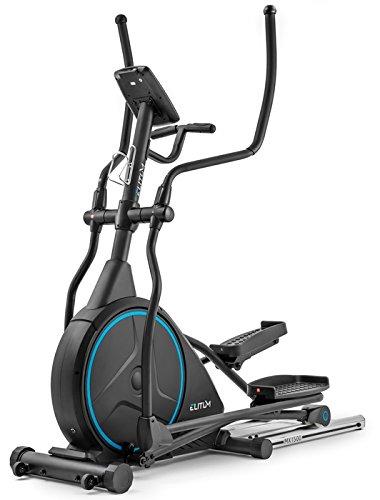 Elitum Crosstrainer MX1500 inkl. Unterlegmatte Ellipsentrainer mit Pulsmessung 24kg Schwungrad Belastbarkeit bis 150kg