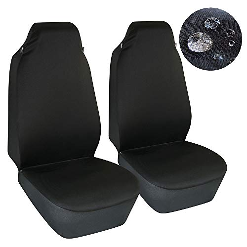 Elantrip Waterproof Bucket Seat Covers High Back Universal Fit Water Resistant Front Seat Protector Airbag Compatible for Cars Van Truck Black 2 Pcs