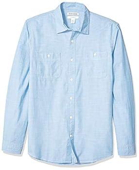 Amazon Essentials Men s Slim-Fit Long-Sleeve Chambray Shirt Light Blue Large