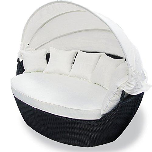 JOM Sonneninsel, Polyrattan Garten Lounge, Chill-Out Sofa mit Baldachin (195x115x140 cm), schwarz, Aluminiumgestänge, mit Sitzpolster und 6 Kissen beige - 2