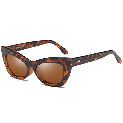 DUCO CatEye W005 - Gafas de sol polarizadas para mujer, estilo retro clásico, Tortuga,