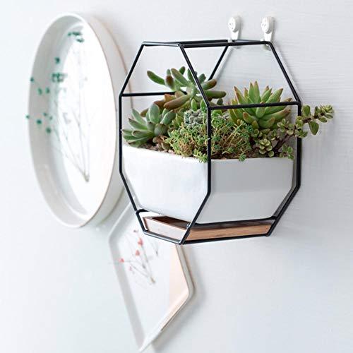 Xiangpian183 Blumentopfhalter, geometrischer Blumenständer, Keramik-Blumentopf an der Wand, Tisch-Blumentopf Blumentopf-Container für Sukkulenten Farn Kakteen Ceramic + Wood + Black Metal