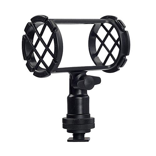 Shock Mount for Shotgun Mic Interview Recording, BOYA BY-C04 Camera Microphone Shockmount & Hot Shoe Mount for Professional Shotgun Microphone Senheisser ME66 Rode NTG-2 NTG-1 Audio-Technica AT-875R