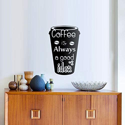 Fostudork Leinwand-Wand-Aufkleber, Kaffee Ist Immer Eine Gute Idee Cup Vinyl-Becher Kaffee-Wand-Aufkleber Removable Küche Abziehbilder Hauptdekoration Für Esszimmer YY317, Weiß, 26x42cm