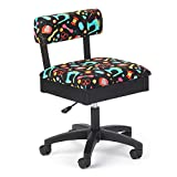 Arrow H7013B Adjustable Height Hydraulic Sewing and Craft Chair with Under Seat Storage and Printed...