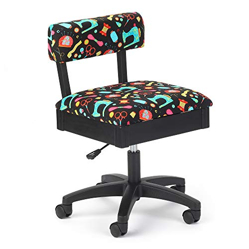Arrow H7013B Adjustable Height Hydraulic Sewing and Craft Chair with Under Seat Storage and Printed Fabric by Riley Black, Black Notions Upholstery